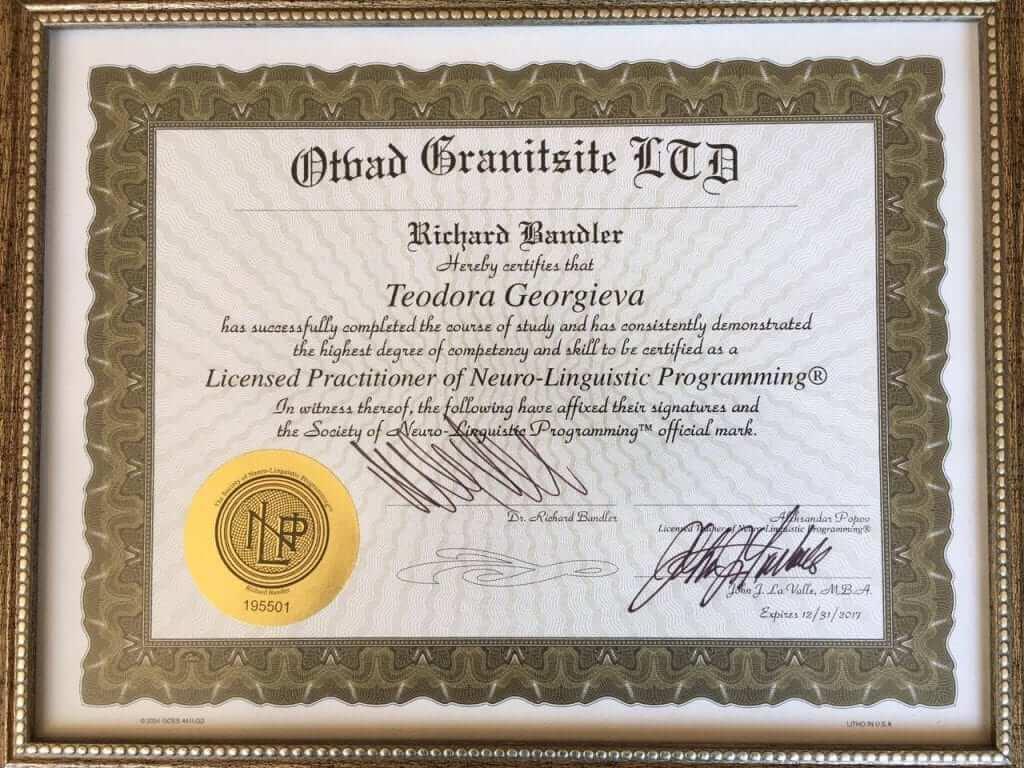 Сертификат за лицензиран НЛП практик на Теодора Георгиева от Ричърд Бандлър.